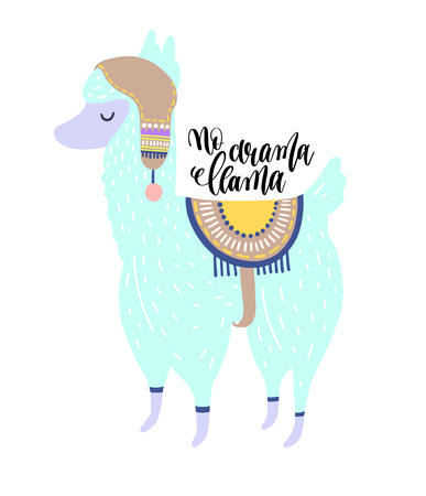 no drama llama hand lettering poster with alpaca portrait on pink background, lama animal vector illustration