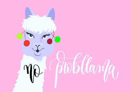 no probllama - llama card with hand lettering text on pink background, alpaca animal vector illustration