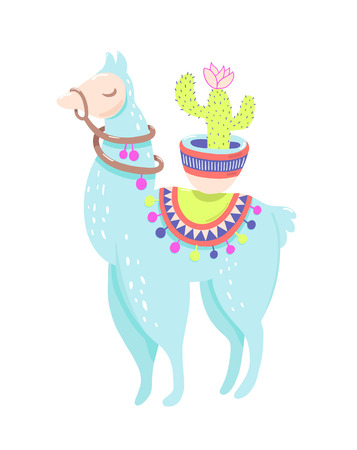 Funny llama with cactus isolated on white, blue alpaca animal cute drawing, lama vector illustration