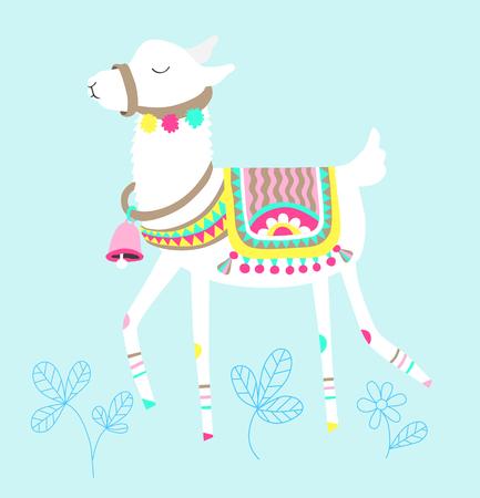 Funny llama isolated on blue, white alpaca animal cute drawing, lama vector illustration
