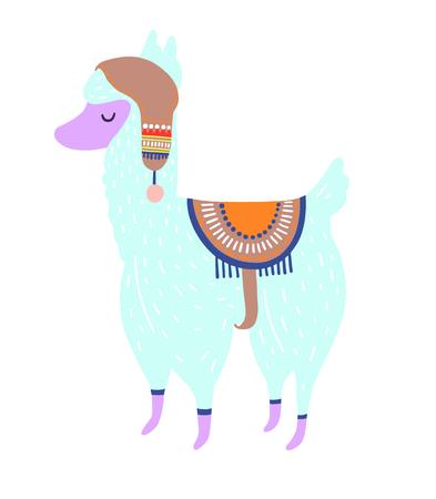 Funny llama isolated on white, blue alpaca animal cute drawing, lama vector illustration