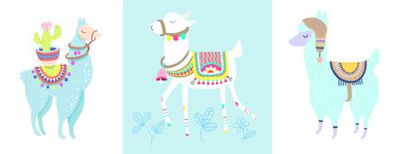 Funny llama with cactus isolated on white, blue alpaca animal cute drawing, three lama vector illustration set  イラスト・ベクター素材