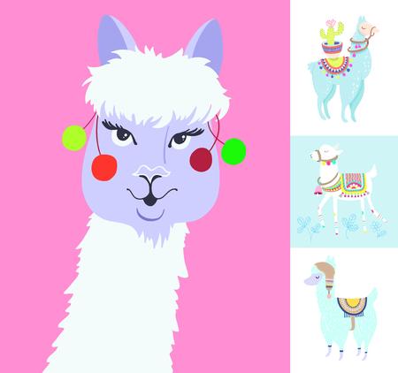 alpaca portrait for avatar, funny llama with cactus isolated on white, blue alpaca animal cute drawing, four lama vector illustration set  イラスト・ベクター素材