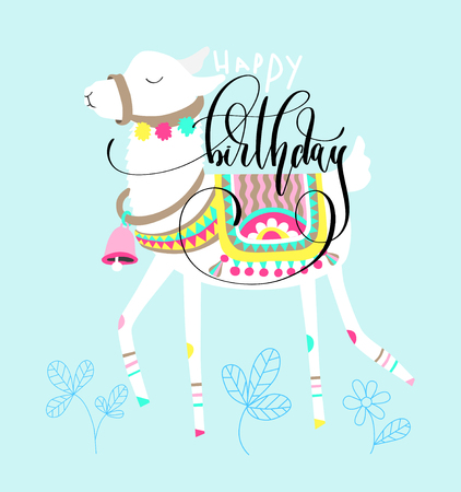 Happy birthday greeting card, white llama on blue background with hand lettering calligraphy text, vector illustration
