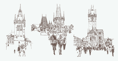 digital drawing of a historical tower in Prague, Czech Republic