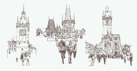 digitale Zeichnung eines historischen Turms in Prag, Tschechien