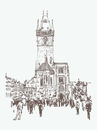 digitale Zeichnung eines historischen Turms in Prag, Tschechien Vektorgrafik