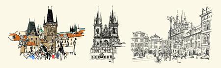 set of three Prague landmark sketch drawing isolated Vektorové ilustrace