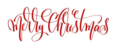 merry christmas - red hand lettering inscription to winter holiday design, calligraphy vector illustration  イラスト・ベクター素材