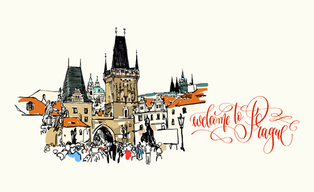 welcome to Prague - travel card with Charles Bridge tower in Prague sketch drawing, Czech Republic, vector illustration