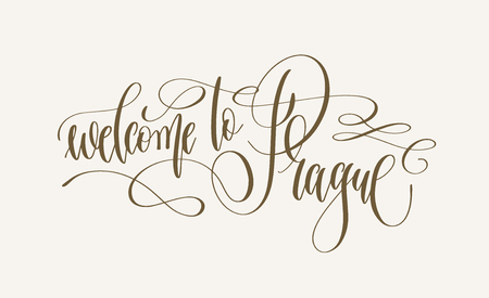 welcome to Prague - hand lettering inscription text to traveling design, calligraphy vector illustration  イラスト・ベクター素材