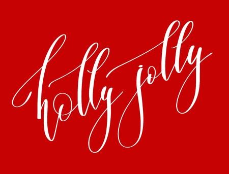 holly jolly - hand lettering inscription text to winter holiday design, celebration greeting card, calligraphy vector illustration Ilustrace