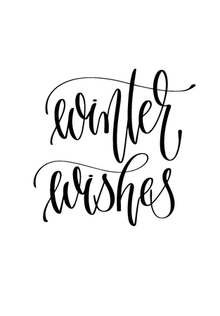 winter wishes - hand lettering inscription text to winter holiday design, christmas decoration vector illustration