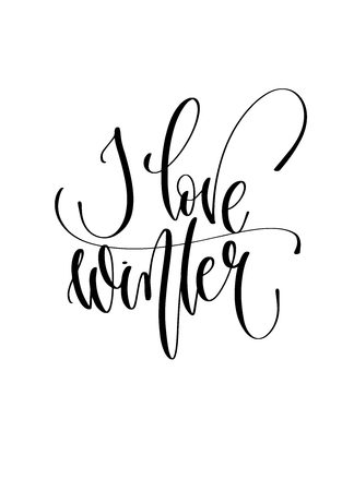 I love winter - hand lettering inscription text to winter holiday design, christmas decoration vector illustration