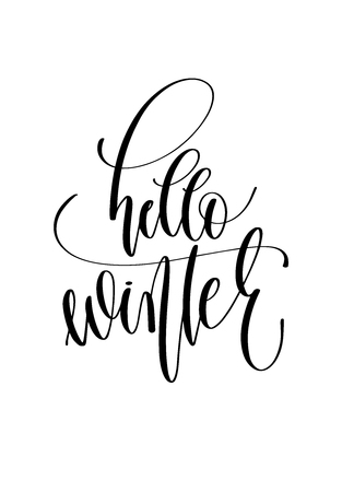 hello winter - hand lettering inscription text to winter holiday design, christmas decoration vector illustration
