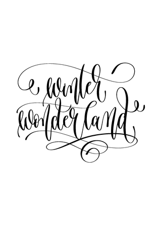 winter wonderland - hand lettering inscription text to winter holiday design, christmas decoration vector illustration