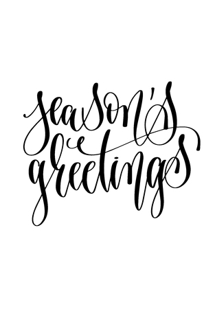 seasons greetings - hand lettering inscription text to winter holiday design, christmas decoration vector illustration  イラスト・ベクター素材