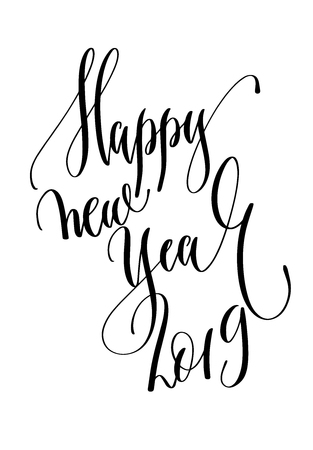 happy new year 2019 - hand lettering inscription text to winter holiday design, christmas decoration vector illustration