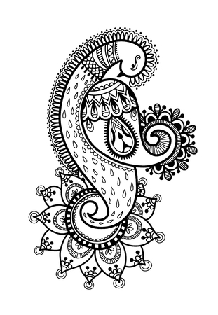 drawing of peacock for henna mehndi tattoo decoration, ethnic oriental indian style vector illustration
