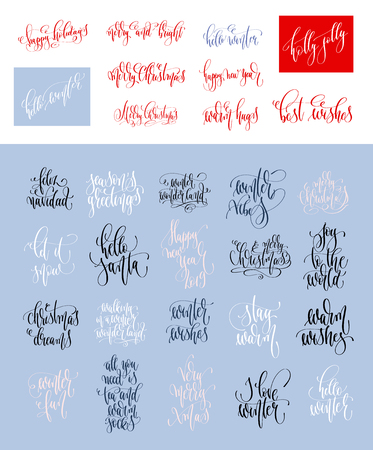set of 30 hand lettering inscription text to winter holiday Stok Fotoğraf - 113802369