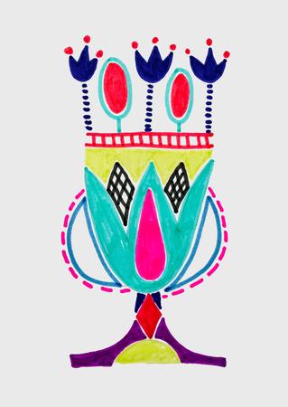 marker sketch drawing of egyptian decoration lotus flower, vector illustration  イラスト・ベクター素材