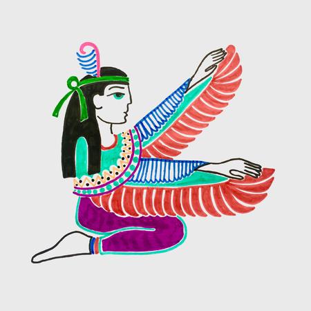 marker sketch drawing of egyptian goddess Isis Ilustração