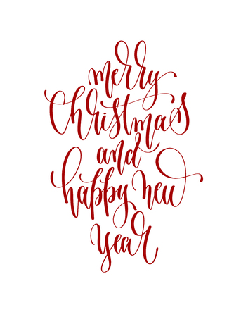 merry christmas and happy new year - hand lettering inscription to winter holiday design, calligraphy vector illustration  イラスト・ベクター素材