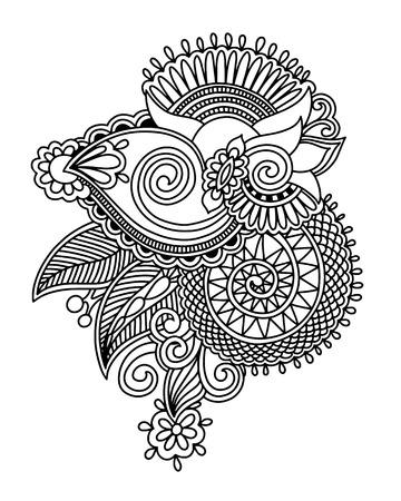 henna paisley flower design, hand drawing decoration floral tattoo vector illustration