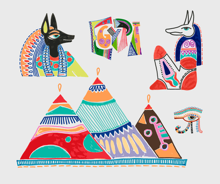 set of marker sketch drawing of egyptian mythological elements - god anubis, three pyramids in Giza and eye of god, vector illustration collection