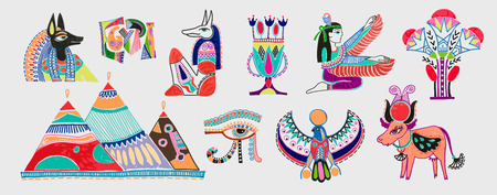set of marker sketch drawing of egyptian mythological elements - god anubis, three pyramids in Giza, eye of god and more, vector illustration  イラスト・ベクター素材