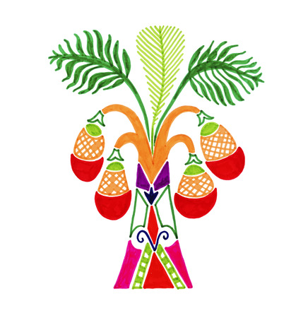 sketch marker drawing of african palm tree in decorative Egyptian style, vector illustration
