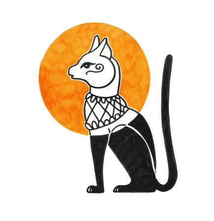 sketch marker drawing of egyptian cat god bastet, vector illustration  イラスト・ベクター素材