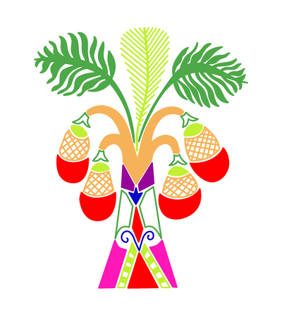 palm tree with coconuts in a decorative modern style, hand drawing vector illustration  イラスト・ベクター素材