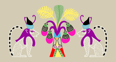 Egyptian pattern with two cat gods and a palm tree with coconuts in a decorative style, vector illustration