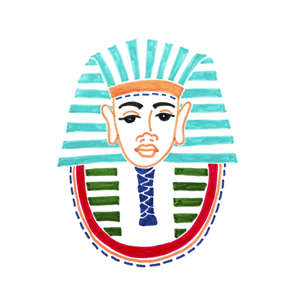 drawing of historical mask of pharaoh tutankhamen