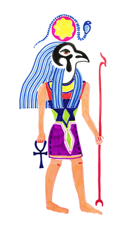 sketch marker drawing of egyptian God Horus, vector illustration