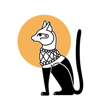 symbolic hand drawing of cat god bastet, Egyptian mythological tradition, vector illustration