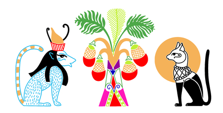 egyptian pattern with two animal god and fruit palm, hand drawing vector illustration Vettoriali