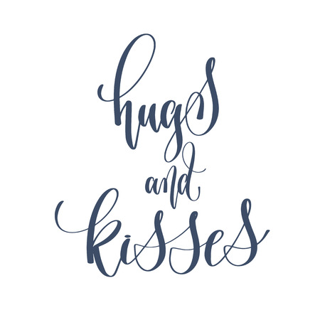 hugs and kisses - hand lettering inscription text to winter holiday design, celebration and greeting card, calligraphy vector illustration