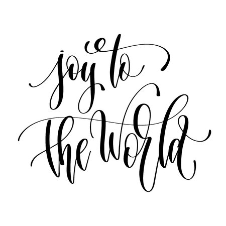 alegría para el mundo - texto de inscripción de letras a mano para el diseño de vacaciones de invierno, ilustración de vector de caligrafía