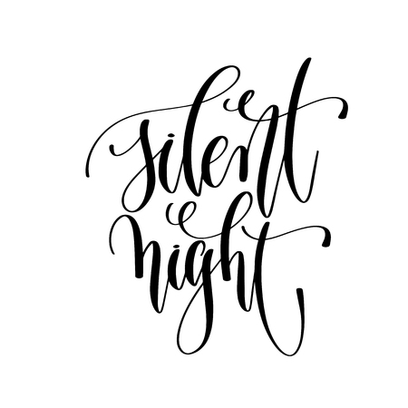 silent night - hand lettering inscription text to winter holiday design, calligraphy vector illustration