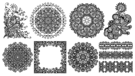 collection of seamless decorative ethnic ornamental floral stripes, circle lace and neckline embroidery fashion, vector illustration set