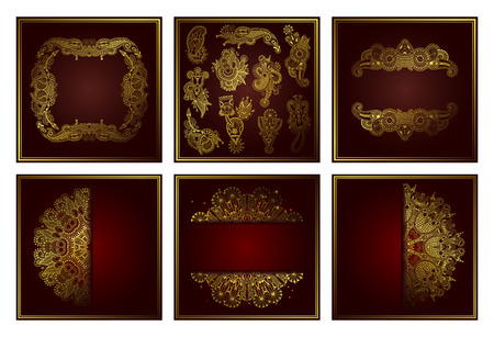 conjunto de elegante patrón de círculo de encaje ornamental de arte de línea dorada, diseño de corte de papel para sus saludos, invitaciones, anuncios, colección de ilustraciones vectoriales Ilustración de vector