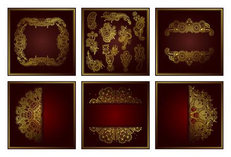 ensemble de motif de cercle de dentelle ornementale d'art de ligne d'or élégant, conception qui a coupé un papier pour vos salutations, invitations, annonces, collection d'illustrations vectorielles Vecteurs