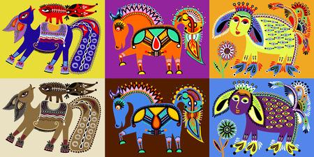 set van Indiase Kalamkari-stijl tribale etnische schilderkunst Vector Illustratie