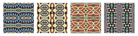 set of different seamless colored vintage geometric pattern Çizim