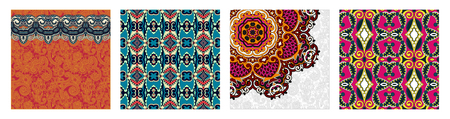 seamless geometry vintage pattern, ethnic style ornamental background, ornate floral decor for fabric design, endless texture, vector illustration