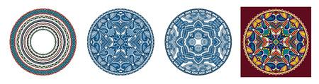 decorative design of circle dish template, round geometric pattern, vector illustration