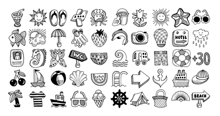 50 sketch icon set of summer theme, vector illustration Ilustrace