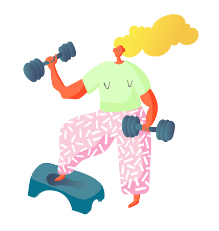 sport cardio workout fitness woman characters with dumbbells, vector illustration
